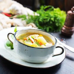 fresh soup with green pea, diet soup